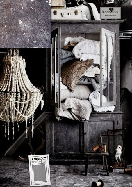 Mood board for paint inspiration to obtain an authentic looking antique finish on furniture.