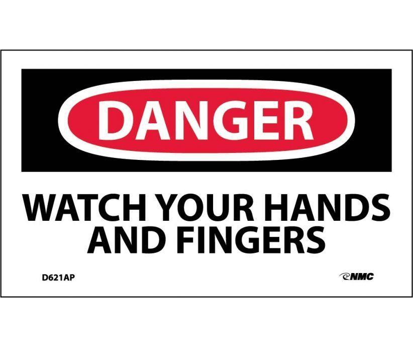 Danger, WATCH YOUR HANDS AND FINGERS, 3X5, PS Vinyl, 5/PK