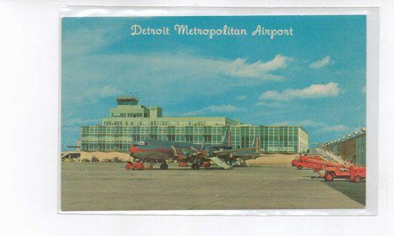 Vintage Postcard  Detroit Metropolitan Airport by hunterstreasure