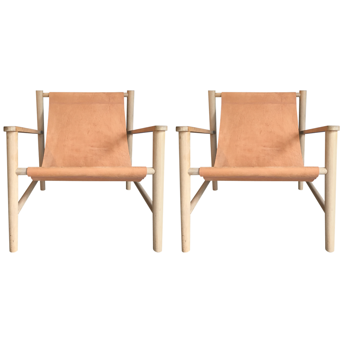 Patio Furniture Refinishing Charlotte Nc: Leather Sling Natural Wood Chairs