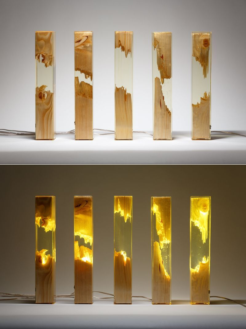 Handcrafted by artist & graphic designer Ioan Stanean of Guideco Design, these classy transparent #lamps are made of pine wood & transparent epoxy resin. They provide delightful illumination & also adds a unique, contemporary touch to any interior. #lighting #tablelamp #liveedgelamp