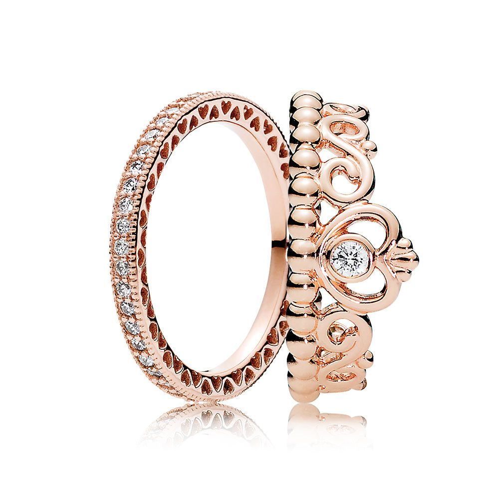 PANDORA Rose Princess Tiara Ring Stack | PANDORA e-STORE ...