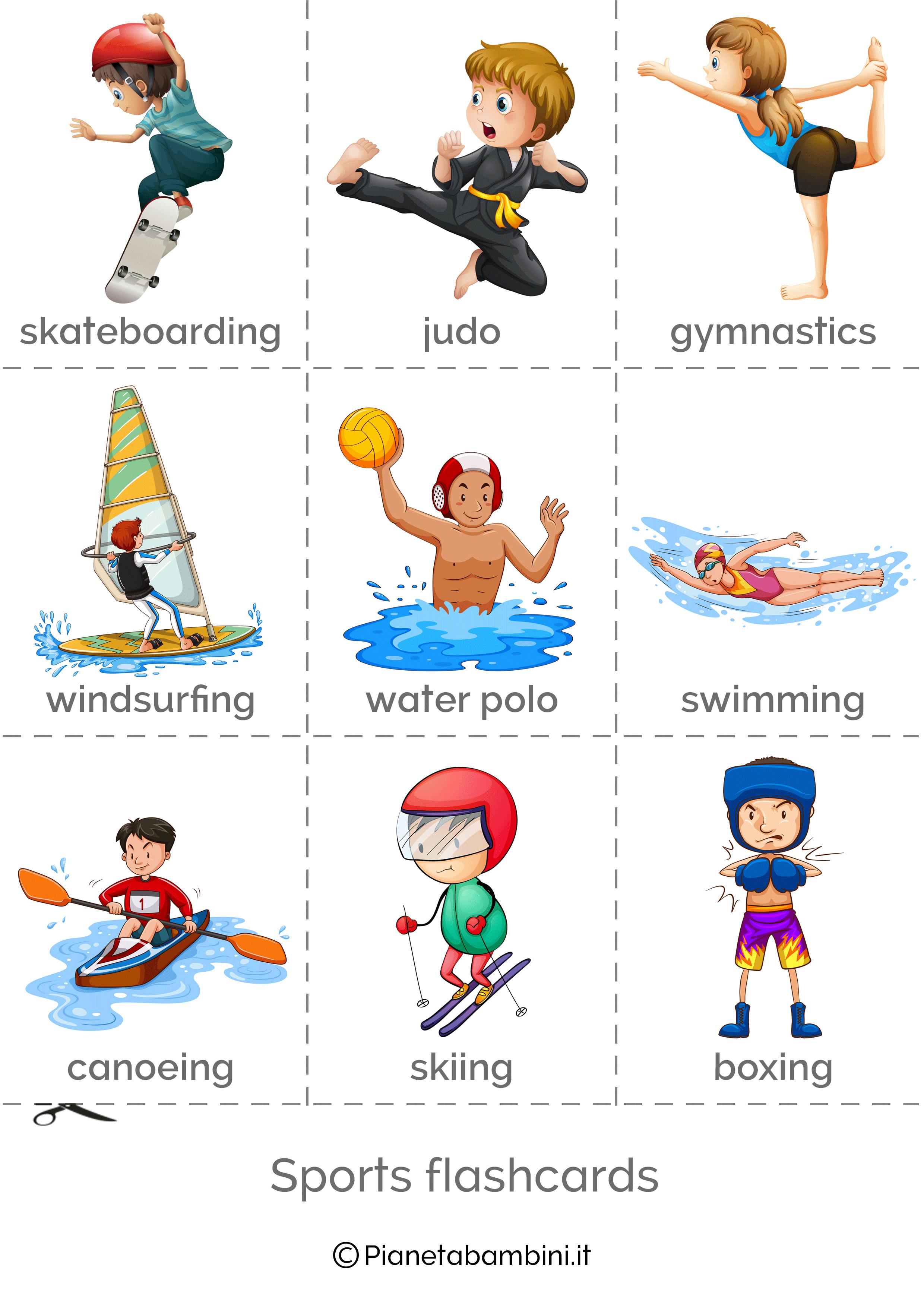 Sport In Inglese Esercizi Per La Scuola Primaria Sport Flashcard Bambini Della Scuola