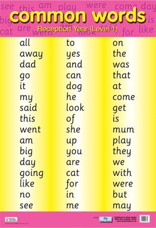 Common Words Level 1 Educational Children's Chart Mini Poster