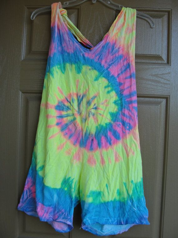 fa5fcf4dda10cf Vintage 80s 90s tie dye romper overalls bathing suit cover up