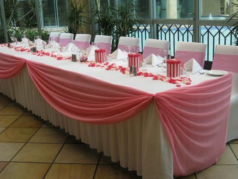 Wedding+Table+Skirting+Ideas | Pink Swagging with White Skirting