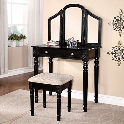Black Vanity With Beading Amp Stool 149 Black Vanity