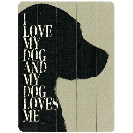 Featuring a charming pet-themed motif, this planked wood wall decor ...
