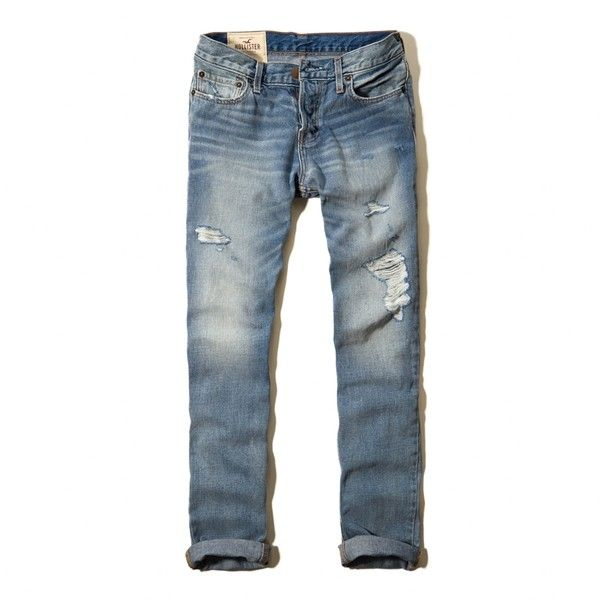 Jeans Guys (66 CAD) ❤ liked on Polyvore featuring jeans, rolled up jeans, distressing jeans, ripped jeans, destructed jeans and ripped blue jeans