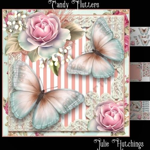 Beautiful card front kit with 3 sheets to print cut and assemble to make a stunning card that includes card front 8x8, decoupage and insert also includes a cut and fold gift card and topper sentiment tags Happy Birthday With Love Mum With Love
