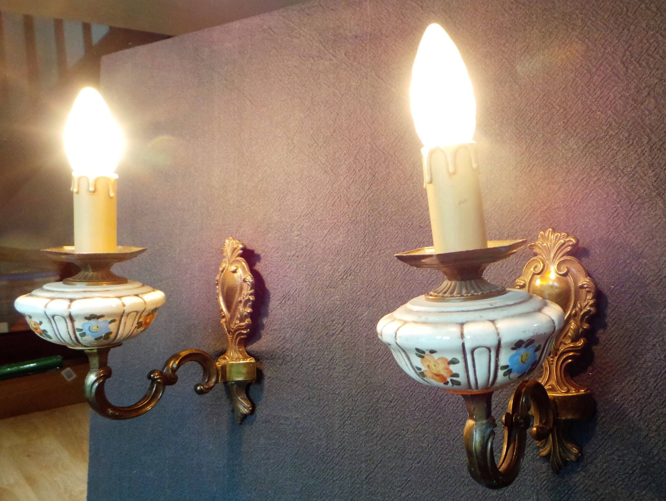 Wall Chandeliers Pair Vintage French Bronze Country Style Light Fittings Set Of Two Ceramic And