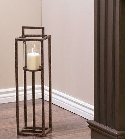 Iron And Glass Floor Standing Candle Holder Small Floor Standing Candle Holders Candle Holders Floor Hurricane Candle Holders