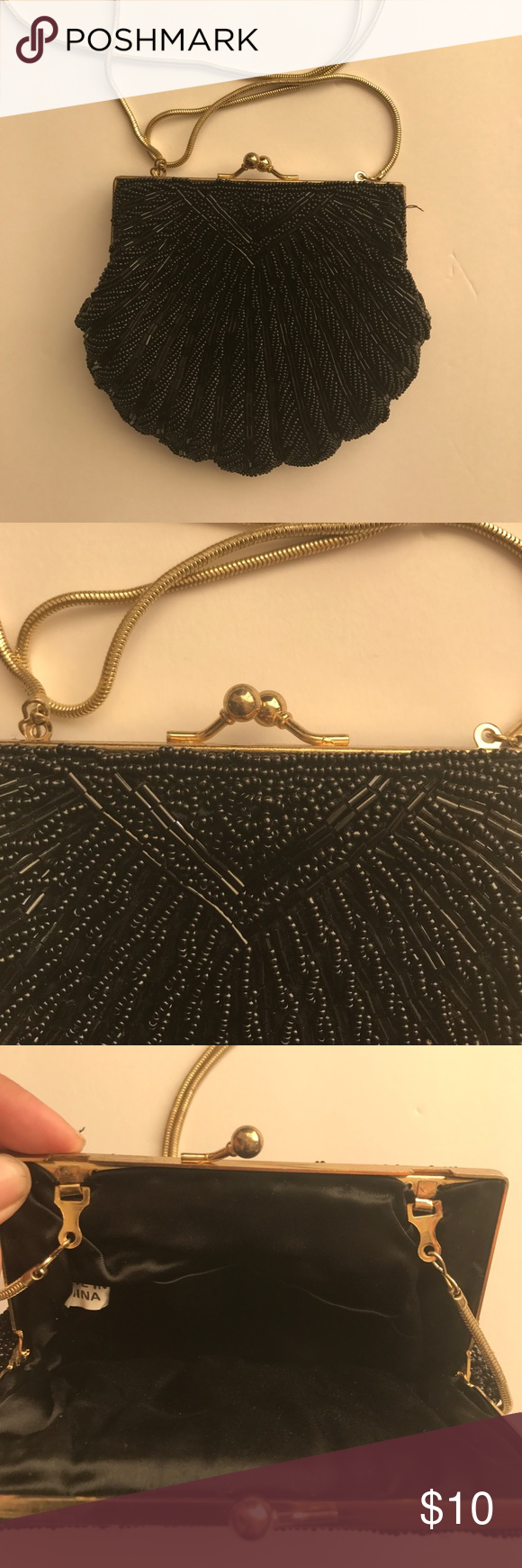 Black Beaded Shell Shaped Evening Purse Black beaded. Shell shaped with gold colored accents. No missing beads. Handle is 17 inches drop. Measures 5 1/2 x 6 inches. Bags Mini Bags