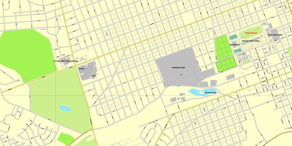 Pennsylvania In Usa Map.Allentown Vector Map Pennsylvania Us Exact Vector Street City Plan