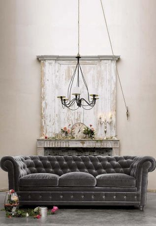 Interior Design Decor Ideas Gray Velvet Tufted Chesterfield Sofa