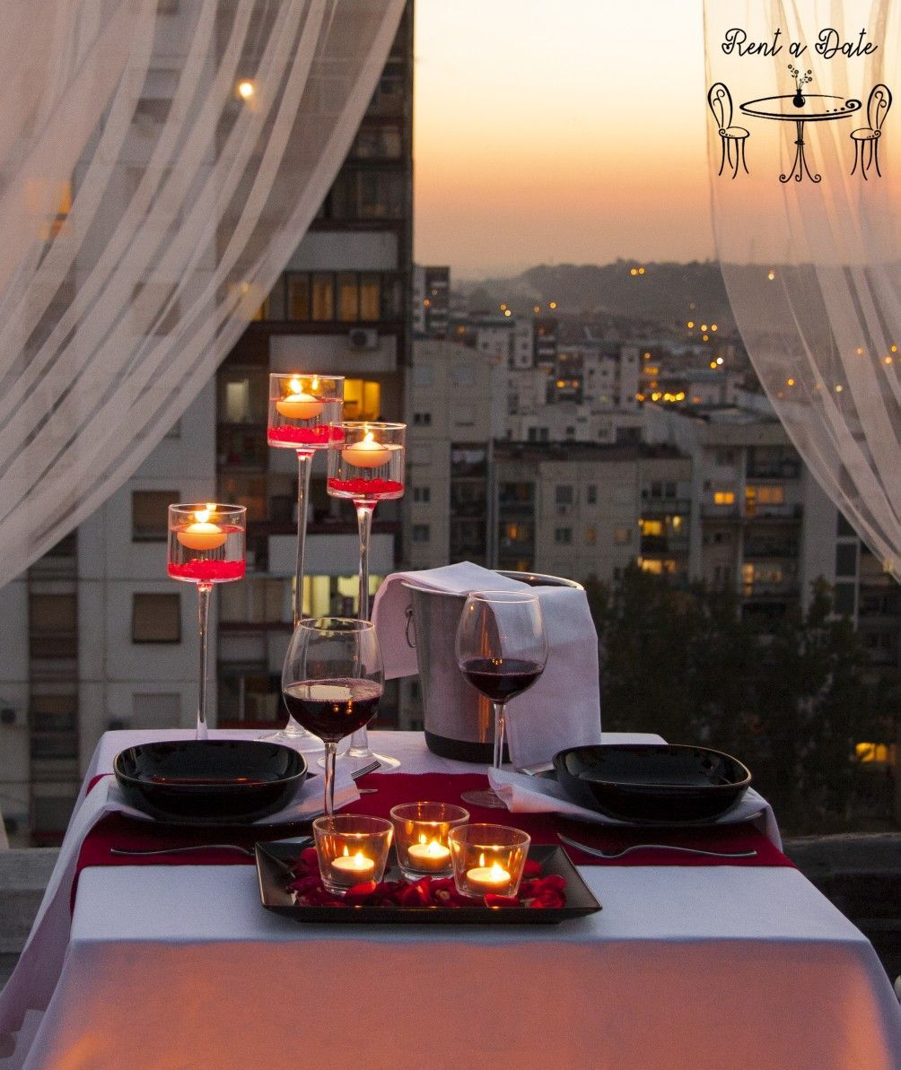 Romantic Dinner On The Rooftop Candles Roses Decorations Decorate Table Night Romantic Dinner Decoration Romantic Dinner Tables Romantic Dinner Setting