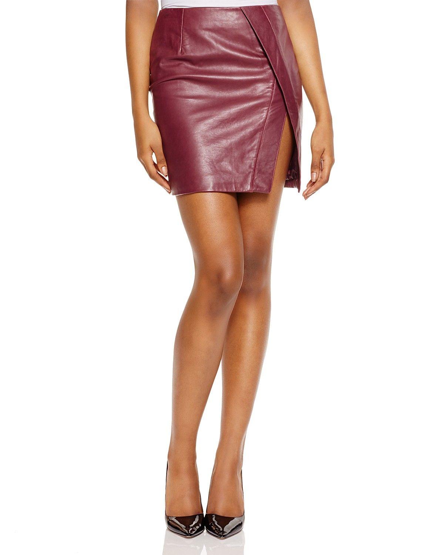 N Nicholas Crossover Leather Mini Skirt | Bloomingdale's