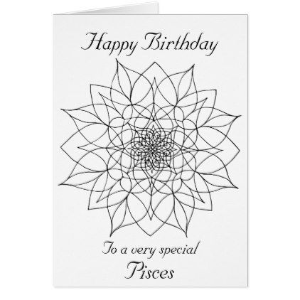 Pisces mandala color your own birthday card birthday gifts party pisces mandala color your own birthday card birthday gifts party celebration custom gift ideas bookmarktalkfo Choice Image