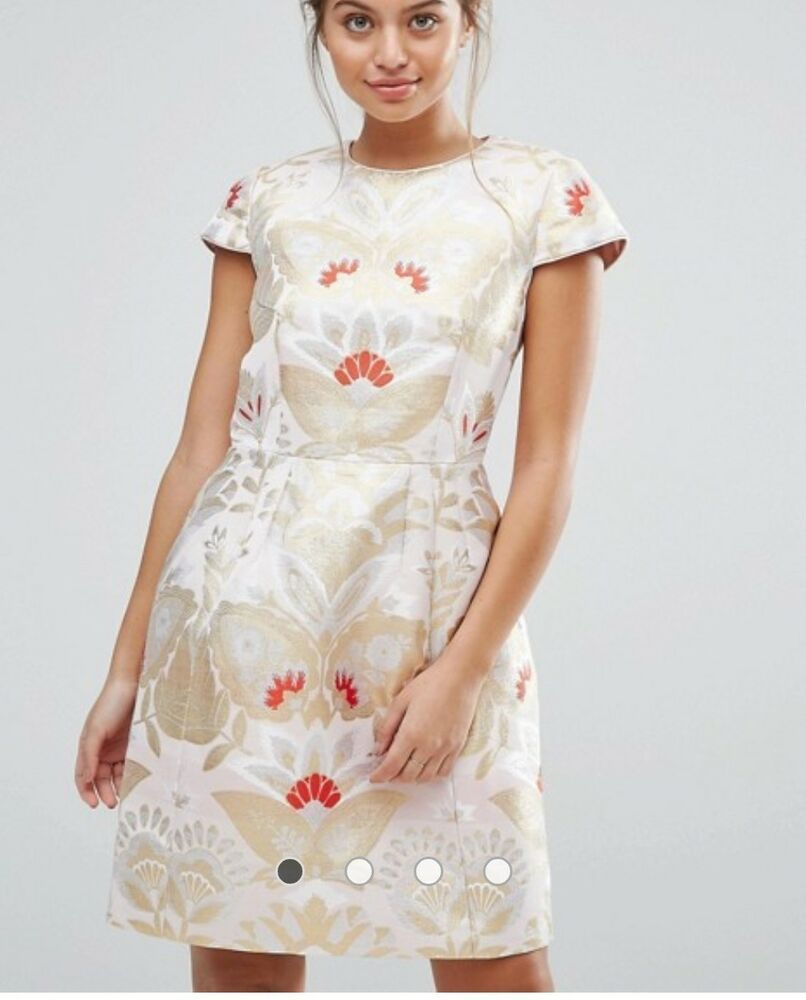 Ted Baker Straw Islaay Opulent Orient Jacquard Dress Ted