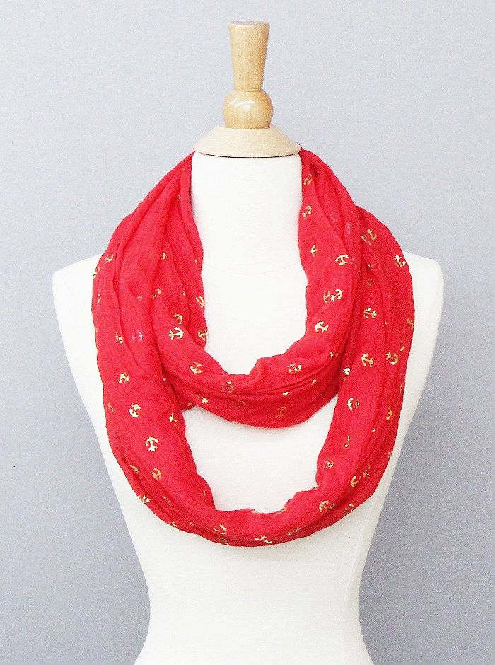 Red and Gold Anchor Infinity Scarf