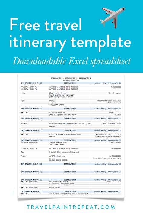 Download the free travel itinerary template Template Pinterest