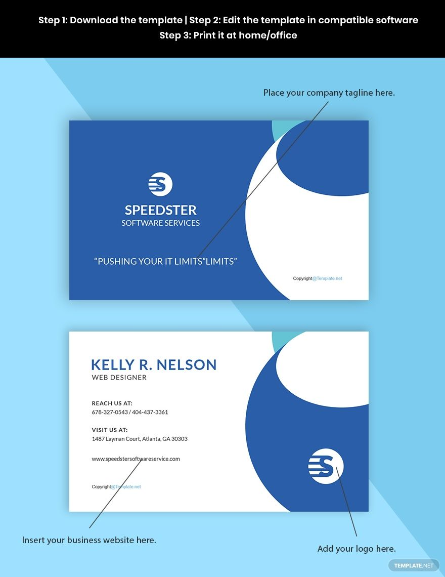 Free Creative Software Developer Business Card Template Word Doc Psd Apple Mac Pages Google Docs Illustrator Business Card Template Word Business Card Template Software Development