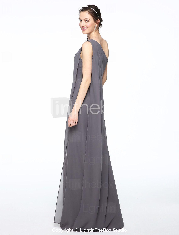 Funda columna un hombro hasta el suelo raso vestido de dama de