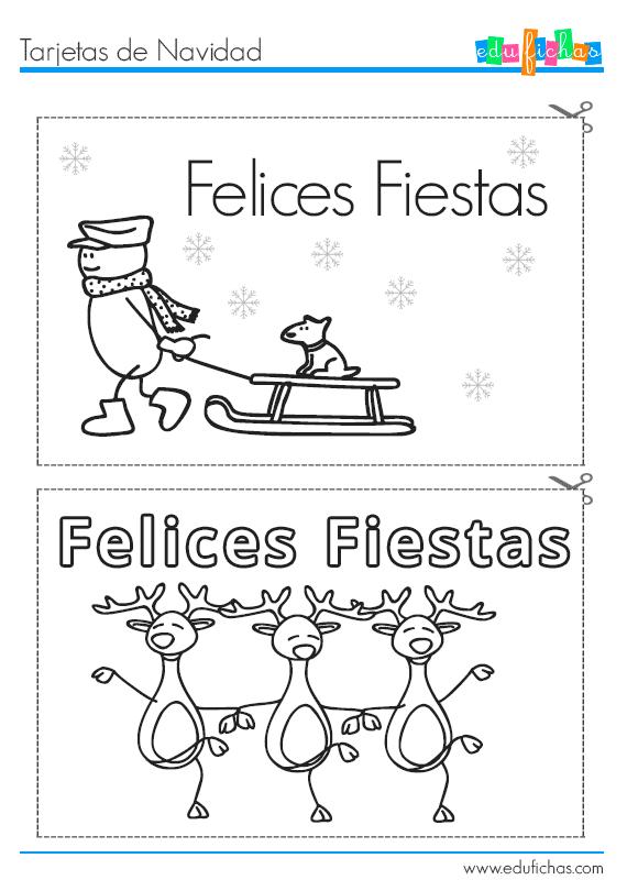 Tarejtas de Navidad para pintar http://www.edufichas.com/tarjetas ...