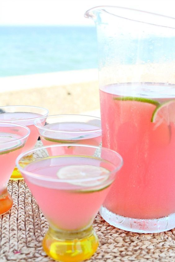Beach House Cosmos 4 cups prepared limeade 2 cups vodka 1 cup cranberry  juice 1/