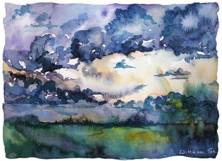 After The Rain Watercolour Landscape Painting Original Aquarelle