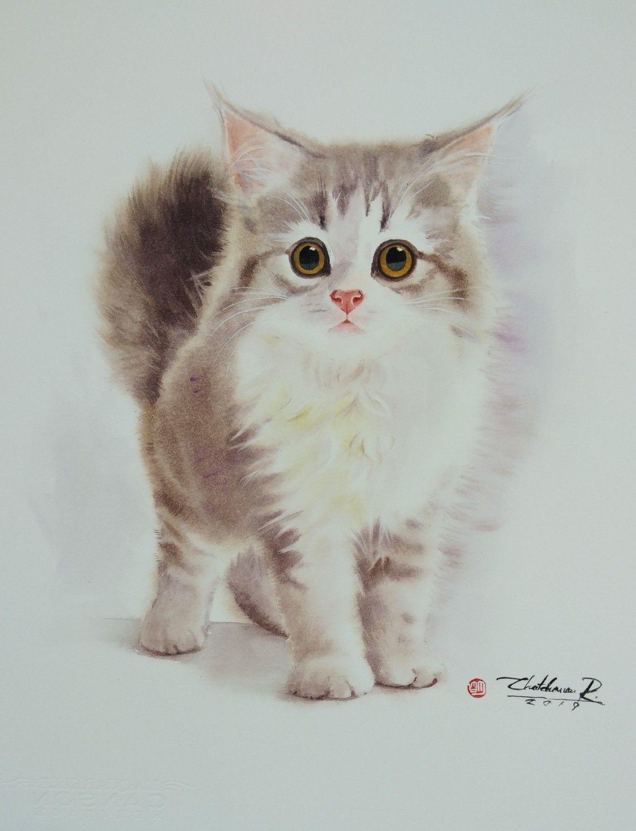 Cat Watercolor Watercolour In 2020 Watercolor Cat Cat Art Cat Drawing