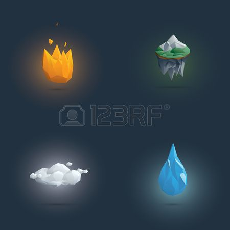 Low Poly Four Elements Symbols 3d Polygonal Elemental Shapes Of