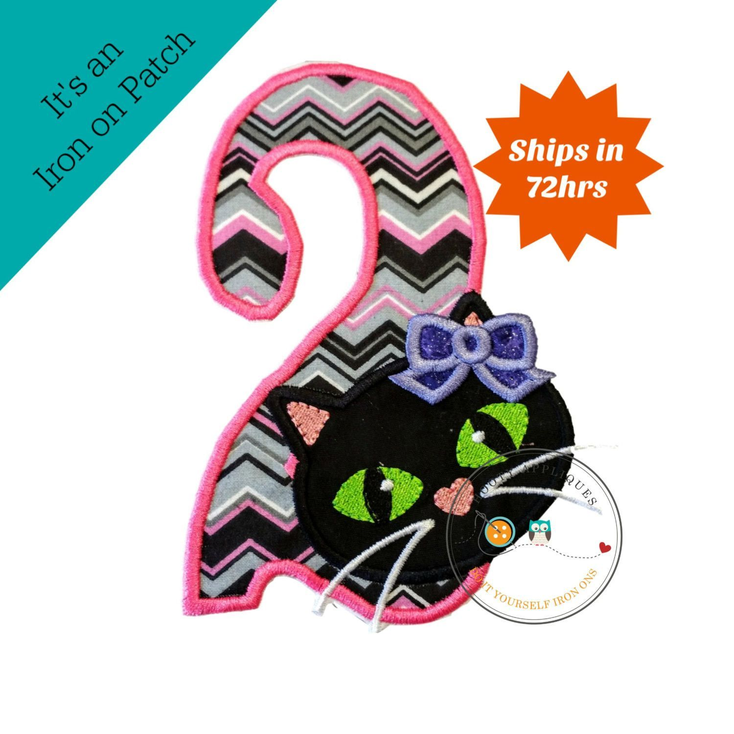Jade kitty face with pink & gray chevron pattern birthday number 2 iron on patch