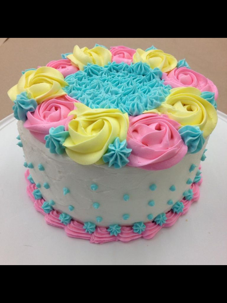 Wilton Baby Shower Cakes Part - 33: My Finale Cake!!! Wilton Cake Decorating Course 1 Final Cake. Swirl Flowers