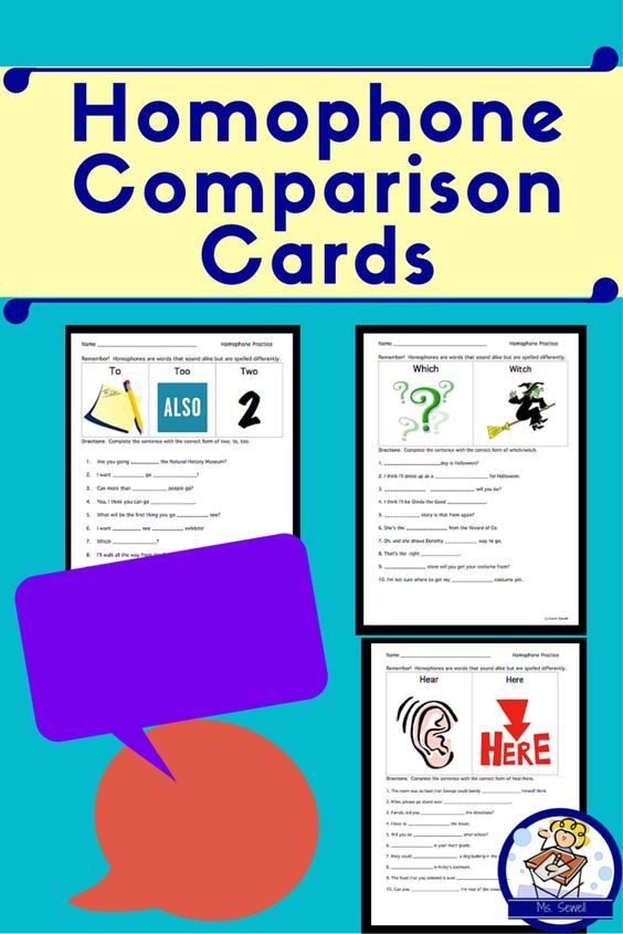 These are quick homophone review worksheets with a visual attachment ...