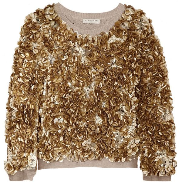 Burberry London Sequined wool and cashmere-blend sweater ($755) ❤ liked on  Polyvore