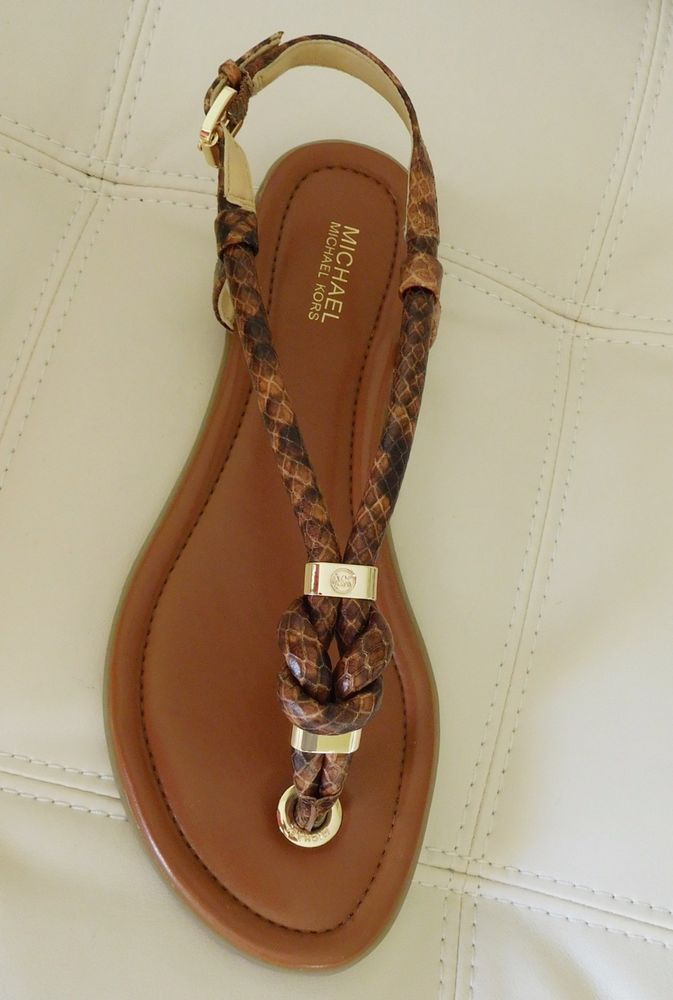 49b689bb4 New Michael Kors Holly Embossed Thong Sandals Luggage Snake Size 8M…