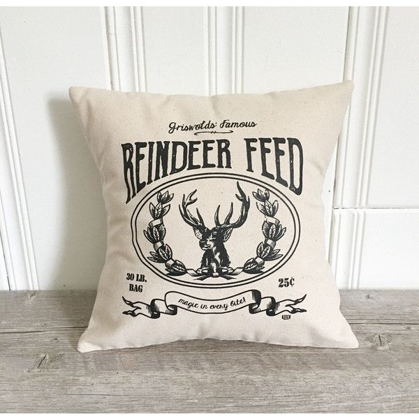 Christmas Pillow Cover Reindeer Feed Christmas Pillow Case Holiday... ($18) ❤ liked on Polyvore featuring home, home decor, holiday decorations, decorative pillows, home & living, home décor, silver and black home decor