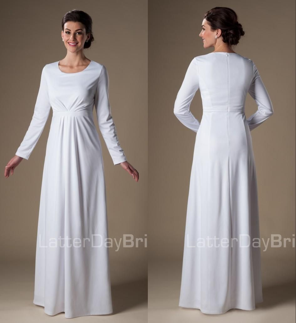 Großhandel 2015 Simple White Muslim Lange Modest Tempel Brautkleider ...