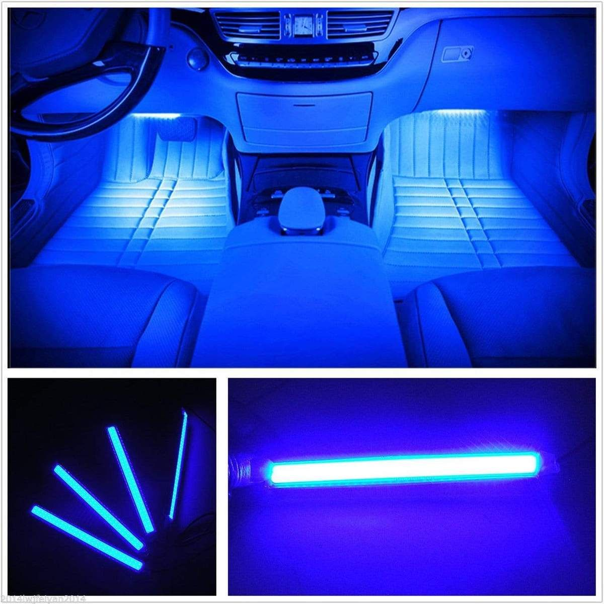 4pcs Led Glow Neon Light Strips For All Carsblue Interior Led Lights Blue Car Accessories Car Led Lights Interiors