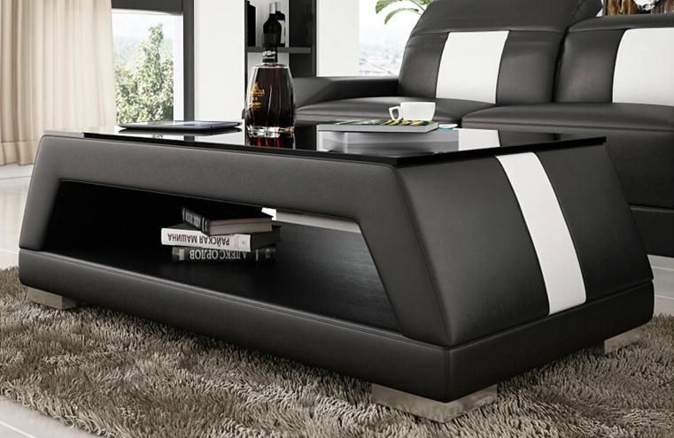 Contemporary Black And White Leather Coffee Table W Black Glass Table Top In 2021 Leather Coffee Table Buy Modern Furniture Coffee Table Design Modern Black glass living room furniture