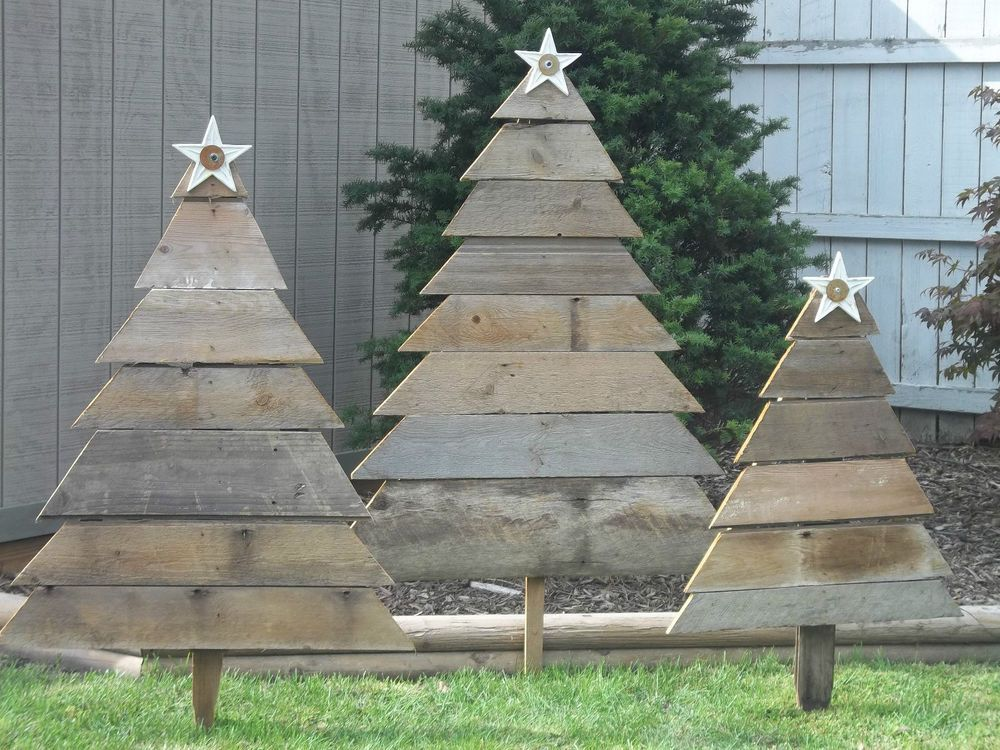 Barnwood Christmas Tree Yard Decor Vintage Weathered Wood