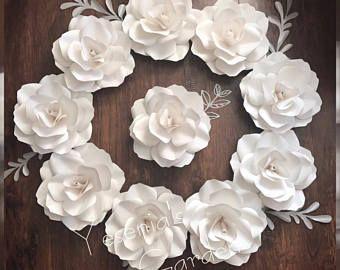 Single White Rose Baptism Ideas Paper Flowers Big Paper