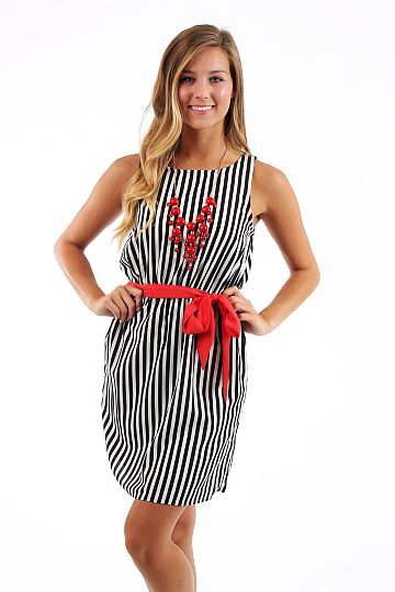 Game Changing Dress, blk/white $44 www.themintjulepboutique.com