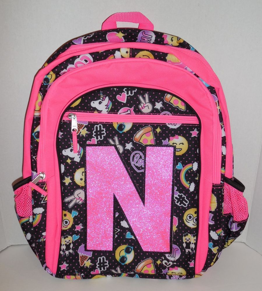 New S Justice Initial N Backpack Bookbag Emoji Polka Dots Pink Nwt Cute Backpacks