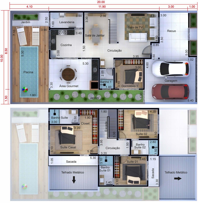 Planta de sobrado com 4 quartos planta para terreno 10x20 - Plantas para dormitorio ...