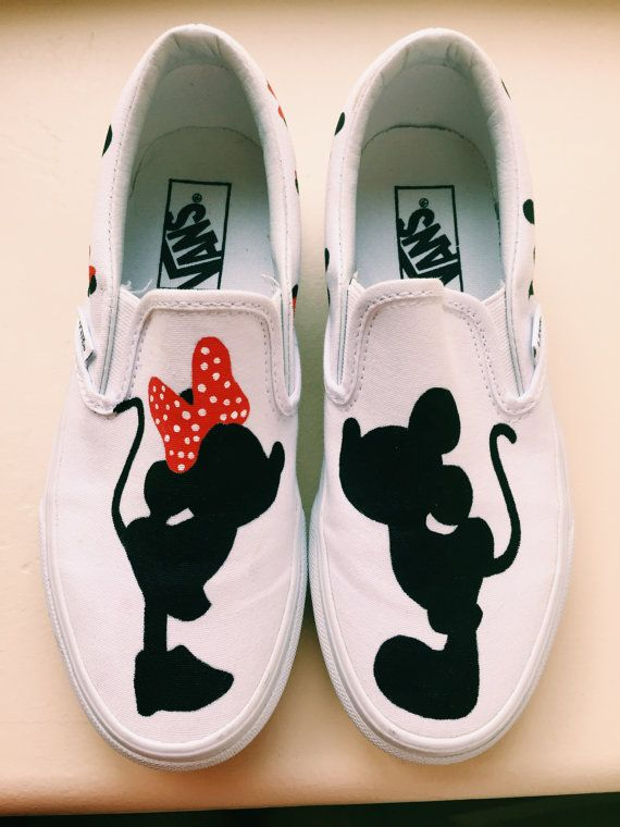 Mickey and Minnie Mouse Silhouette Hand Painted Shoes-- totally going to  make these bad boys before our trip!