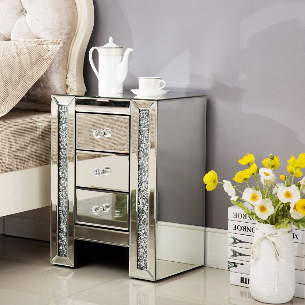Crystal Mirrored Bedside Table Cabinet Glass 3 Drawers Cupboard Nightstand