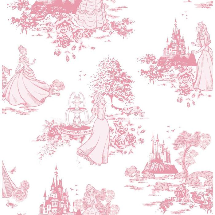 Princess 10m L x 52cm W Toile Roll Wallpaper Pink toile