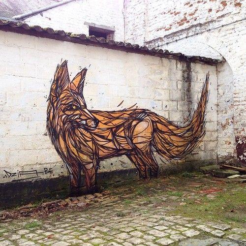 """Dzia - Belgian Street Artist - """"Déjà Vu fox"""" - Tourinnes (BE) - 10/2014 -  \*/  #dzia #streetart"""